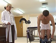 Boys receiving physical exam by male doctor: check-up of dick and balls - catheterization - prostata massage - rectal exam - cock stroking for cum.