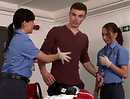 Hot straight guy Michael has caught the eyes of the customs officials in Border Squad. They stop him and demand to search the hunky young man. He is reluctant but the law is on the uniformed womens si...