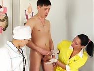 Obedient male patient entertains two femdom nurses