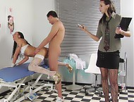 Forced sex at group femdom examination