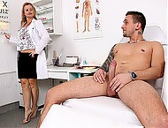 Hot czech milf doctor Denisa healthy cfnm handjob
