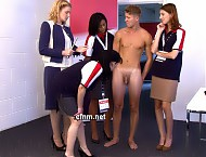 Standing naked and surrounded by the confident women, diving champ John undergoes a full body exam. As if being stripped naked and having his smooth athletic body studied wasn't bad enough, now Barbar...