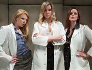 3 sadistic lesbian scientists use unconventional ways to stimulate patients prostate and potency then drain him of sperm to get impregnated