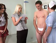 The boys' yearly medical exams. Fully naked boys in front of young nurses