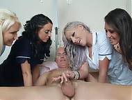 Old man enjoys bed bath and naked wank from four sexy nurses