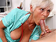 Skinny granny Ruta big dick blowjob at hospital