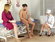 All about women exam at the gynecologist: breast checkup, pussy check with fingers, gynochair exam with clear and metal speculum, rectal exam...